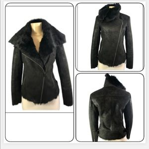 - A/X ARMANI EXCHANGE BLACK BWN FAUX SUEDE COAT